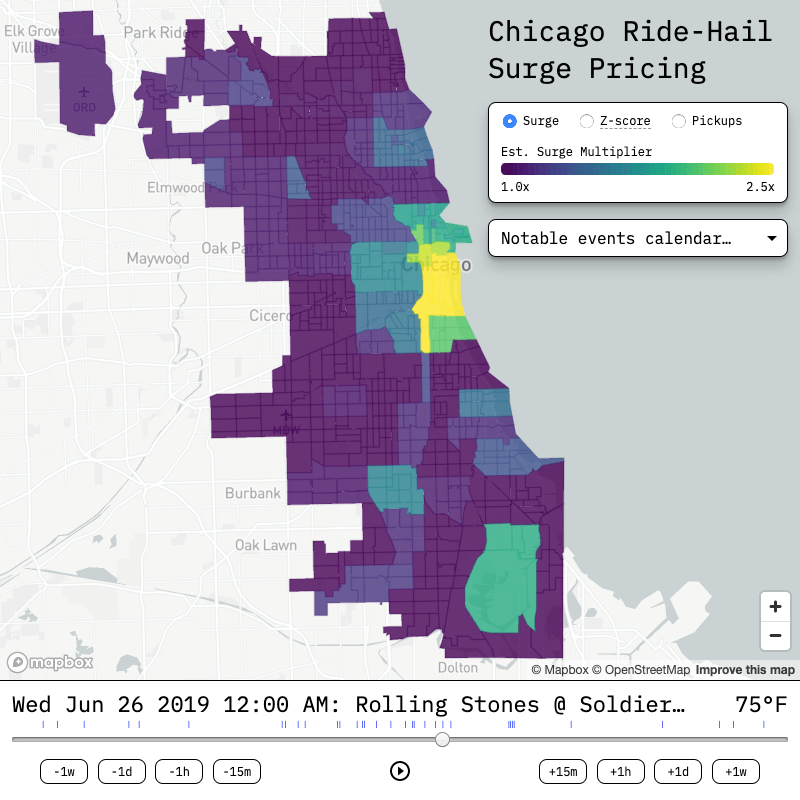 chicago ride-hail surge pricing map
